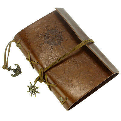 Leather Case Vintage Style Portable Journal Diary book Chain Nautical A7M2