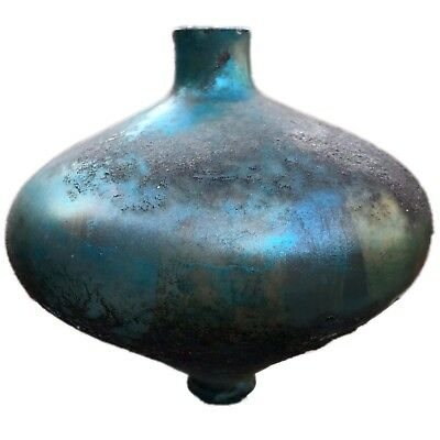 Very Rare Huge Ancient Roman Turquoise Glass Vessel 1St Century A.d. (2)