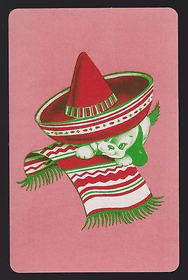 1 Single VINTAGE Swap/Playing Card DOG MEXICAN PUP SOMBRERO & BLANKET