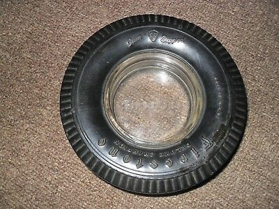 Vintage Advertising Ashtray Firestone Tires Deluxe Champion Gum Dipped Made USA