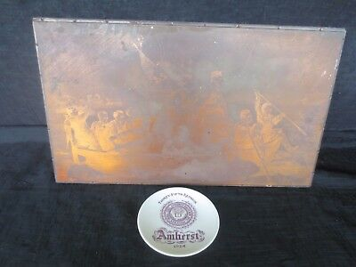 Antique Copper Printing Plate, Amherst College, Washington Crossing the Delaware