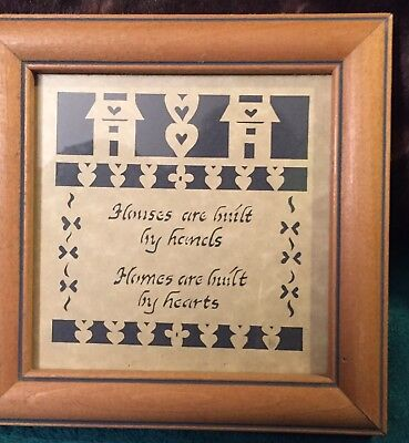 ,Framed Paper Cut Picture - Homes Are Built By Hand Homes Are Built By Hearts
