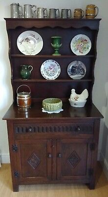 Antique Oak Small Welsh Dresser with Long Draw and Two Cupboard Doors