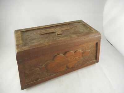 WW1/ WW2 Prisoner of War? Carved Wooden Box - Eric/ Vicky Carved Hearts