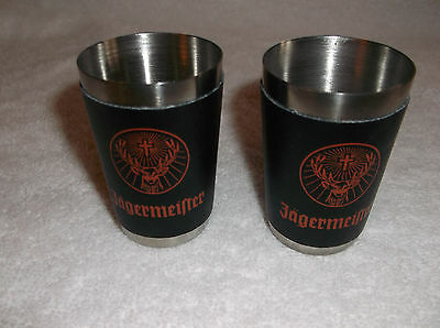 Set of 2 <<>> Jagermeister Stainless Steel With Faux Leather Shot Glasses