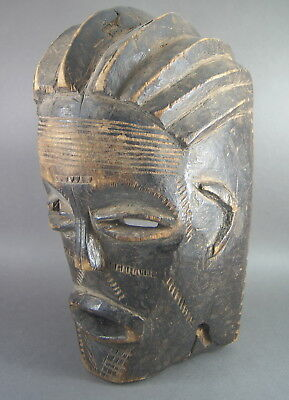 V GOOD OLD CHOKWE CARVED WOODEN MASK ANGOLAN AFRICAN TRIBAL ART No Congo Figure