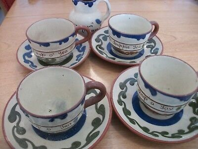 Tea Set - 4 Cups & Saucers With Creamer & Egg Cup