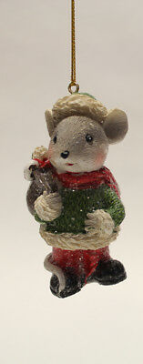 "3.35"" Hand Painted Resin Holiday Mouse Holding Sack Christmas Ornament Style 3"