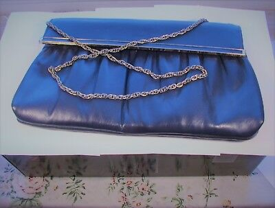 """Ladies/Girls Clutch Purse with Gold Tone 30"""" Chain Medium Blue Color Pre-Owned"""