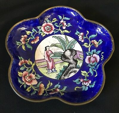 ANTIQUE 19th CENTURY CHINESE ENAMEL ON COPPER DISH CATCHALL