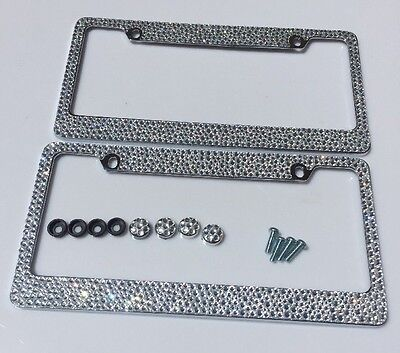 2 DIAMOND CRYSTAL Clear Rhinestone License Plate Frames (Front and ...