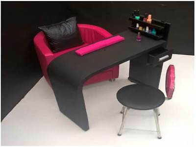 Deluxe Manicure Nail Table + Stool Chair + Organizer + Wrist Rest, Station Spa