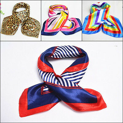 Ladies Square Silk Feel Satin Scarf - Small Vintage Head Neck Hair Tie Band FT