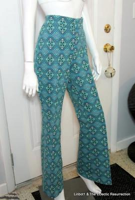 Vintage 70s High Waist Bell Bottoms Stretch Mid-Eastern Hippie Print Extra Large