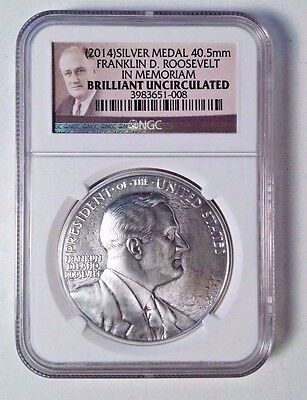 2014 Silver Franklin Roosevelt Medal BU NGC Cased from Coin and Chronicles Set