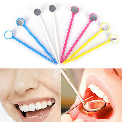 10Pcs Dental Mirror Dentist Plastic Handle Tool for Teeth Cleaning Inspection FT
