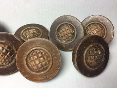 "Lot of 6 Antique Vintage Large 2 1/2"" Wooden Round Drawer Knobs Cupboard Pulls"