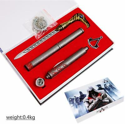3 pcs Assassin's Creed Pendant Ring Weapon Box Set Gift Game Cosplay Collection