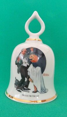 "Norman Rockwell ""Trick or Treat"" Collectible Bell - Danbury Mint 1979 Ltd Ed."