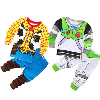 Buzz Lightyear Cotton Pajama Set Kids Baby Boys Clothes Sleepwear T-shirt+Pants