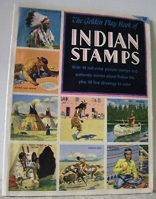 1954 PAPER BACK INDIAN STAMP BOOK COMPLETE BY SIMON & SCHUSTER 2.5 x2.5 STAMPS