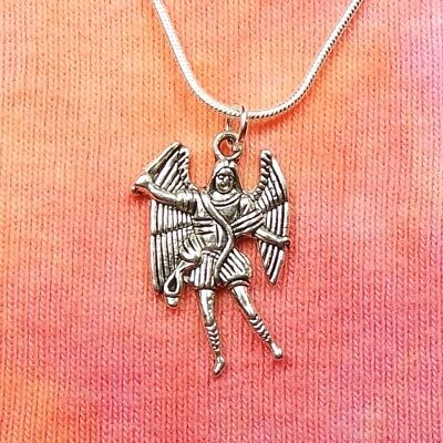 Archangel Michael Necklace, Arch Angel Miguel Micheal Mikhael Charm Pendant Gift