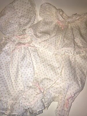 Vtg ALEXIS Baby Girl ROSEBUD Lot Dress Gown Bonnet Pants Set Outfits 0 3 6 Mos