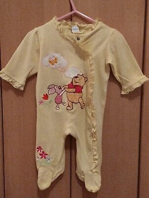 Disney Baby Yellow frill winnie the pooh & piglet sleep suit with bib 0-3 months