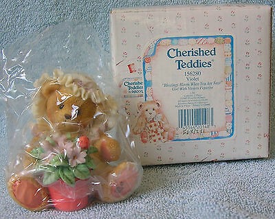"""Cherished Teddies VIOLET """"Blessings Bloom When You Are Near"""" 156280 NIB"""