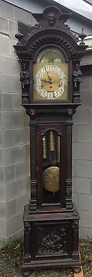 Carved Oak Tobey 5 Tube Grandfather Clock