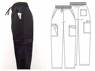 Black BH 856 Medical Scrubs 7-Pocket Cargo Pant Unisex>Uniform>drawstring>Chef