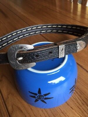 Western Horsehair Belt with Silver Plate Buckle set