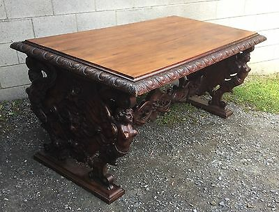 19th c. CARVED WINGED LADY WALNUT LIBRARY TABLE