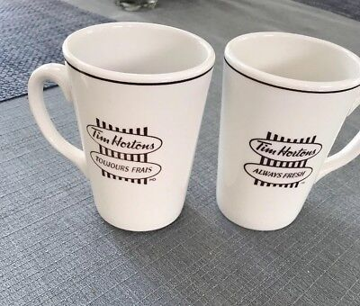 Two Tim Horton's Always Fresh and Toujours Frais Coffee Or Tea Mugs