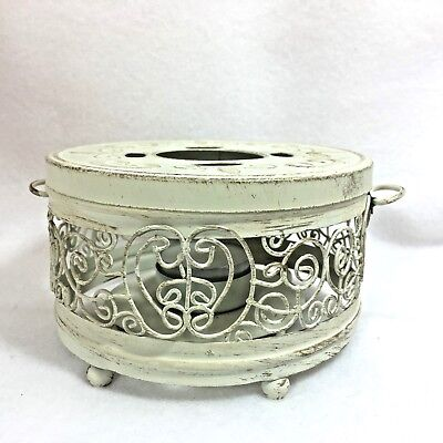 Teapot Warmer   Distressed Metal with Handles Feet and Candle