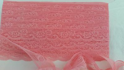 ROSE PINK Scalloped Floral Shabby Chic Craft 35mm Lace Trim SOLD BY THE METRE