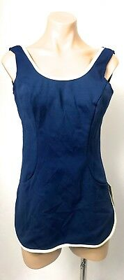 Vintage MID CENTURY Navy ivory trim swimming top dress swimmers swimwear 12 14