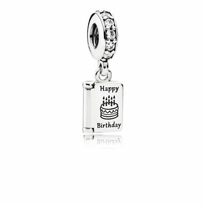 New PANDORA Dangle Happy Birthday Wishes Charm Sterling Silver 791723CZ W POUCH