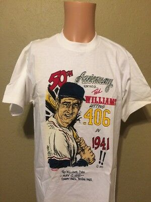 Rare Vintage Boston Red Sox Ted Williams Day 50th Anniversary Collectible Shirt