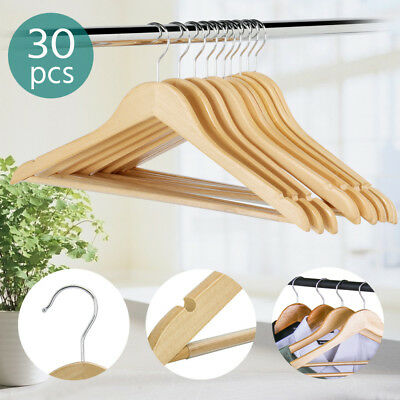 30X Wooden Clothes Hangers Coat Pants Suit Hangers 360° Swivel Hook Natural Wood