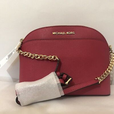 4b1a7574eb61 Michael Kors EMMY Small Dome Satchel & Crossbody Cherry Red Leather Handbag  NWT
