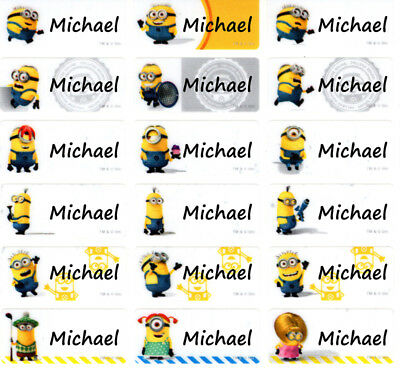 Despicable Me Minions custom Personalized Name Stickers Labels 96pcs waterproof