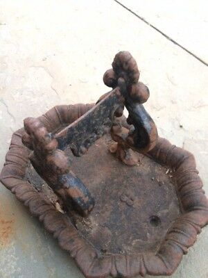 Antique Victorian Cast Iron Boot Scraper with tray. Lovely patina.