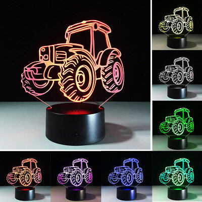 Tractor Acrylic Visual Touch Lamp 7-Color 3D LED Night Lights Table Home Gifts