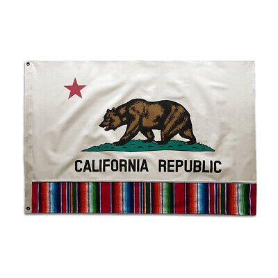 Cotton 2'x3' California Republic Flag Vintage Style Serape Sarape Mexico Mexican