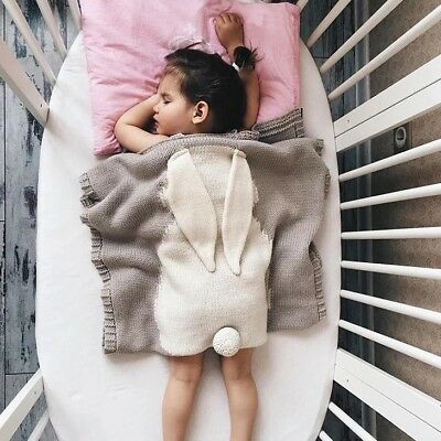 Cute Bunny Kids Baby Soft Napping Blanket Rabbit Ear Bedding Towel Cove