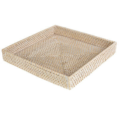 NEW Rattan Whitewash Large Square Tray