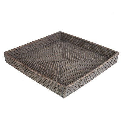NEW Rattan Greywash Large Square Tray