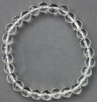 "Bracelet Cristal de roche facetté 7/8 mm ""Large"""