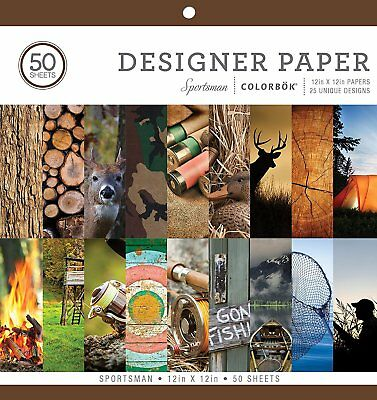 """Colorbok Sportsman Design Crafting and Scrapbooking Paper-50 Sheets 12""""x12"""""""